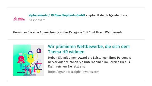 XING Werbeanzeige alpha awards Grand Prix, Kategorie HR